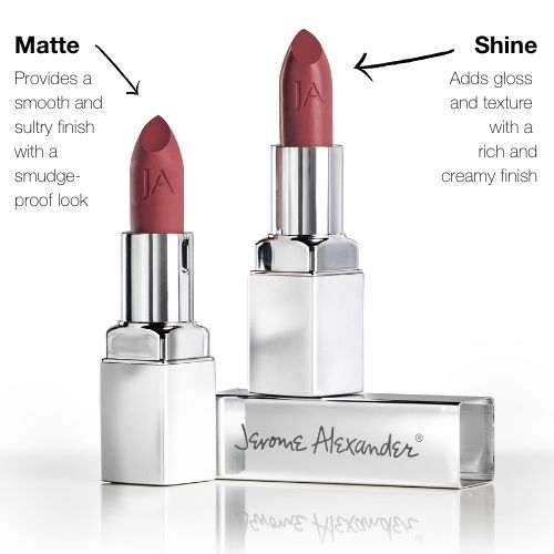Matte provides a smooth and sultry finish while shine adds gloss and texture